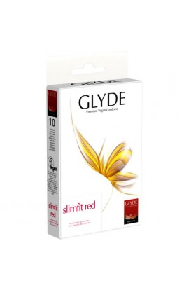 GLYDE, CONDOMS SLIMFIT RED, 10 pcs