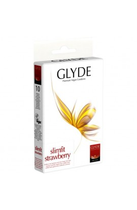GLYDE, CONDOMS SLIMFIT STRAWBERRY, 10 pcs