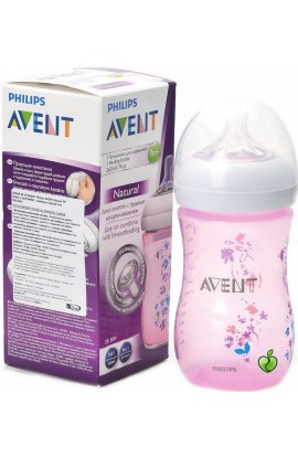 Philips Avent bottle natural flower Pink 260ml