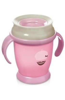 LOVI mug 360 JUNIOR Retro with handles without BPA pink 250 ml