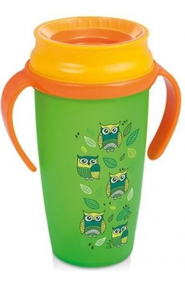 LOVI LOVI 360 ACTIVE Cup 350ml with Handles without BPA Folky green-orange