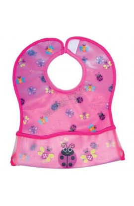 Sassy bib with a pink detachable pocket
