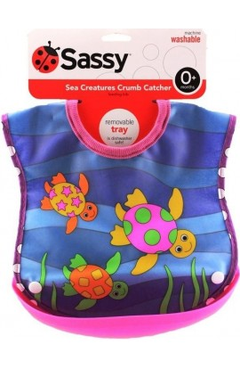 Sassy bib with a tortoise trough