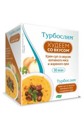 "Evalar Turboslim ""Lose weight with taste"". Cream soup with smoked meat and fried onion"