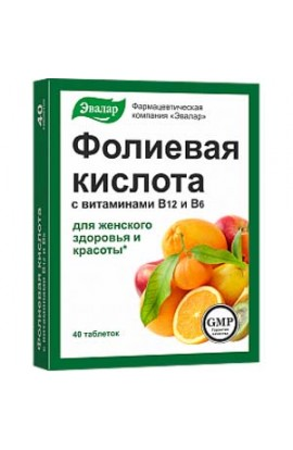 Evalar Folic acid with vitamins В₁₂ and В₆ 40 tablets