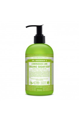 DR. BRONNER'S, LIQUID SOAP FOR BODY AND HAIR SUGAR-SHIKAKAI, LEMONGRASS-LIME, 355 ML