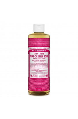 DR. BRONNER'S, LIQUID UNIVERSAL SOAP ALL-ONE!, ROSE, 475 ML
