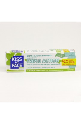 KISS MY FACE, DENTAL GEL TRIPLE ACTION, WITHOUT FLUORIDE, 127,6 GR