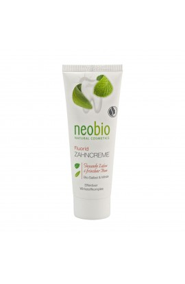 NEOBIO, DENTAL CREAM SAGE AND MINT WITH FLUORIDE, 75 ML