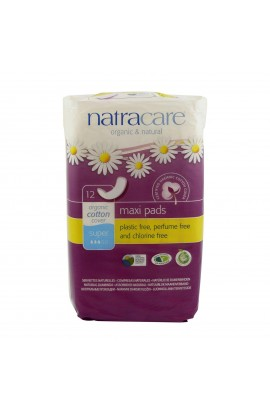 NATRACARE, DAILY SANITARY PADS SUPER MAXI, 12 PIECE