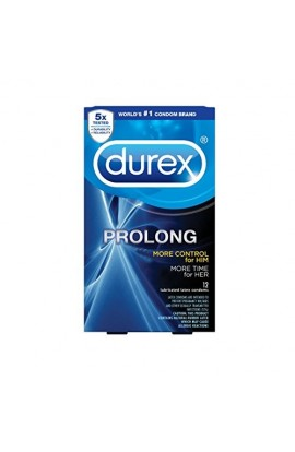 Durex Condom Prolong Natural Latex Condoms, 12 Count - Ultra Fine, Ribbed and Dotted with delay Lubricant
