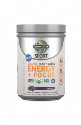 Garden of Life Sport Organic Pre Workout Energy Plus Focus Vegan Energy Powder, Blackberry, 15.3oz...