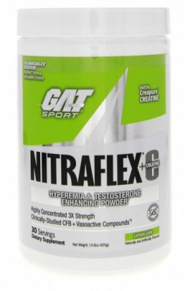 GAT Nitraflex + C Creatine Lemon Lime Preworkout Supplement 30 Servings, 14.8 Ounce