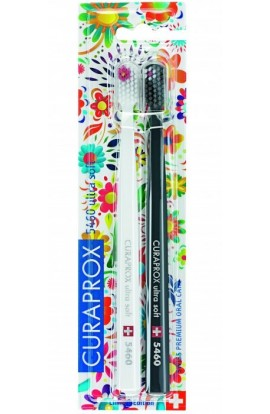 Ultra soft toothbrush (white + gray) CS Ultra Soft 5460 2-pack Hawaii edition 2pcs Curaprox