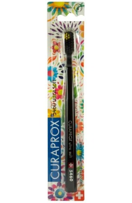 Ultra soft toothbrush (black + black and yellow) CS Ultra Soft 5460 Hawaii edition 1pcs Curaprox