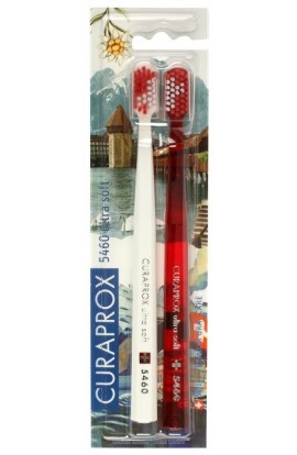 Ultra soft toothbrush (white + red) CS Ultra Soft 5460 2-pack Swiss edition - Luzern 2pcs Curaprox