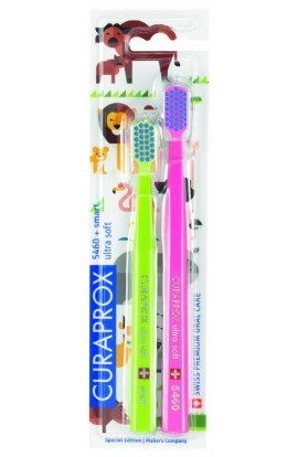 Ultra soft toothbrush (green + pink-blue) CS Ultra Soft 5460 2-pack Animal family edition 2pcs Curaprox