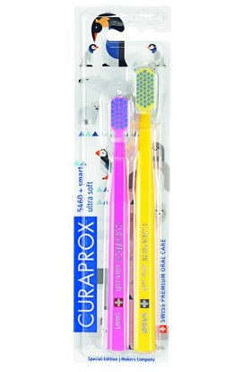 Ultra soft toothbrush (pink + yellow-blue) CS Ultra Soft 5460 2-pack Animal family edition 2pcs Curaprox