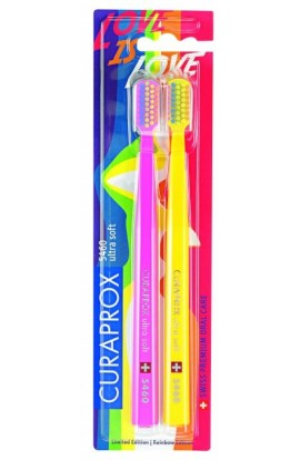 Ultra soft toothbrush (pink + yellow) CS Ultra Soft 5460 2-pack Rainbow edition 2pcs Curaprox