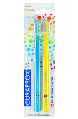 Ultra soft toothbrush (blue + yellow) CS Ultra Soft 5460 2-pack Rainbow edition 2pcs Curaprox