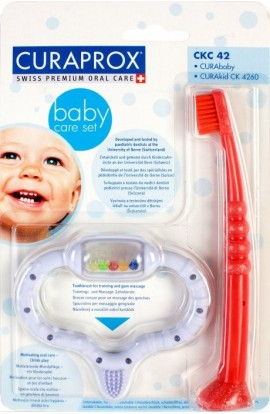 STIMULATOR FOR CUTTING TEMPORAL TEETH + CHILD TOOTH BRUSH (blue-red) Combipack boy 1pc Curaprox