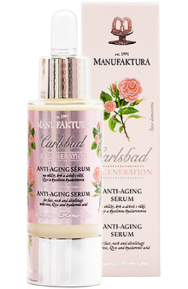 Manufaktura Anti-aging serum for face, neck and decollete with rose, Q10 and hyaluronic acid 30 ml