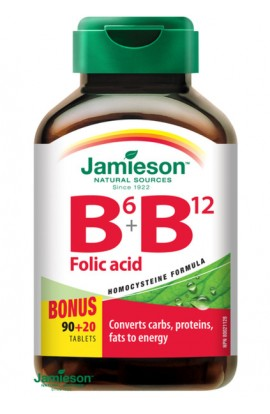Jamieson, Vitamins B6, B9, B12 + folic acid tablets, 110 Tbl
